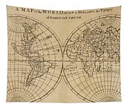 A Map Of The World With The Voyage Of Robinson Crusoe Tapestry
