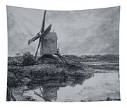 A Mill On The Banks Of The River Stour Charcoal On Paper Tapestry