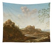 A Panoramic River Valley Landscape With Figures And Village Below Tapestry