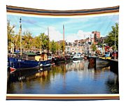A Peaceful Canal Scene - The Netherlands L A S With Decorative Ornate Printed Frame. Tapestry