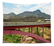 A Pickup Pulling A Travel Trailer Across The Salt River Canyon B Tapestry