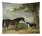 A Pony With A Dog Tapestry