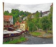 A Riverside Cafe Along The Vltava River In The Czech Republic Tapestry