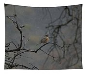 A Robin In Spring Snowfall  Tapestry