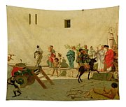 A Roman Street Scene With Musicians And A Performing Monkey Tapestry