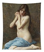 A Seated Nude With A Blue Drape Tapestry