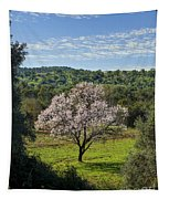 A Solitary Almond Tree Tapestry