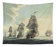 A Squadron Of The Royal Navy Running Down The Channel And An East Indiaman Preparing To Sail Tapestry