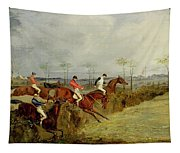 A Steeplechase - Taking A Hedge And Ditch  Tapestry