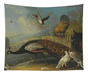 A Still Life With A Peacock, Pigeons And Chickens In A River Landscape Tapestry