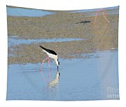 A Stilt Drinking Its Reflection Tapestry