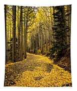 A Stroll Among The Golden Aspens  Tapestry