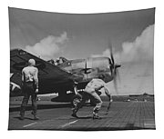 A Us Navy Fighter Pilot Gets The Take Off Flag From The Deck Crew Of An Aircraft Carrier Tapestry
