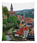 A View Of Cesky Krumlov And Castle In The Czech Republic Tapestry