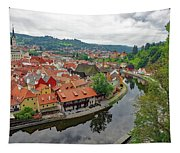 A View Of Cesky Krumlov And The Vltava River In The Czech Republic Tapestry