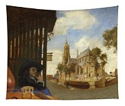 A View Of Delft With A Musical Instrument Seller's Stall Tapestry