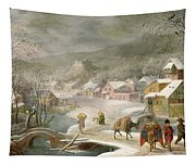 A Winter Landscape With Travellers On A Path Tapestry