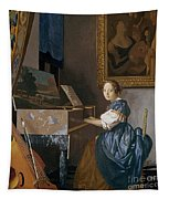 A Young Lady Seated At A Virginal Tapestry