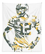 Aaron Rodgers Green Bay Packers Pixel Art 20 Tapestry