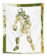 Aaron Rodgers Green Bay Packers Water Color Art 1 Tapestry