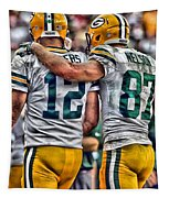 Aaron Rodgers Jordy Nelson Green Bay Packers Art Tapestry