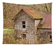 Abandoned House With Colorful Roof Tapestry