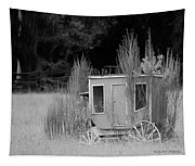 Abandoned In The Field Black And White Tapestry