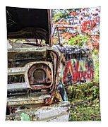 Abandoned Truck With Spray Paint Tapestry