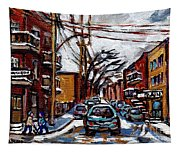 Plateau Mont Royal Scenes De Rue De Montreal En Hiver Rue Napoleon Petit Format A Vendre Tapestry
