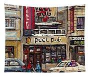 Rue Peel Montreal En Hiver Parie De Hockey De Rue Peel Pub Tapestry