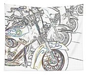 Abstract Bikes Tapestry
