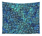 Abstract Blue And Green Pattern Tapestry