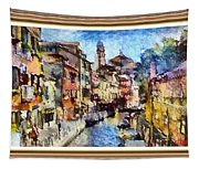 Abstract Canal Scene In Venice L A S With Decorative Ornate Printed Frame. Tapestry