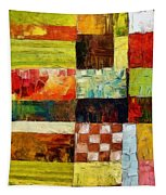 Abstract Color Study With Checkerboard And Stripes Tapestry
