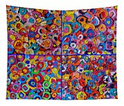 Abstract Colorful Flowers 4 Tapestry