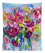 Abstract Colorful Flowers Tapestry