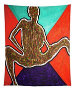Abstract Ebony Nude Sitting Tapestry