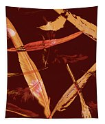 Abstract Feathers Falling On Brown Background Tapestry