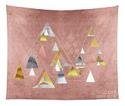 Abstract Geometric Triangles, Gold, Silver Rose Gold Tapestry