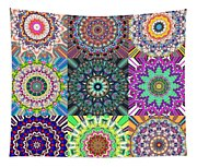 Abstract Mandala Collage Tapestry
