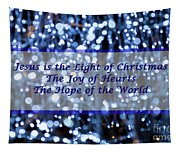 Abstract Of Blue Lights Text Tapestry