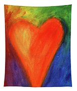 Abstract Orange Heart 1 Tapestry