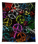 Abstract Peace Signs Collage Tapestry