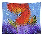 Abstract Red Flowers - Pieces 5 - Sharon Cummings Tapestry