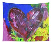 Abstract Red Heart Acrylic Painting Tapestry