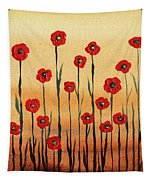 Abstract Red Poppy Field Tapestry