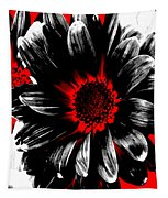 Abstract Red White And Black Daisy Tapestry