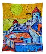Abstract Santorini Sunset Oia Windmills  Tapestry