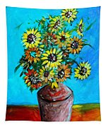 Abstract Sunflowers W/vase Tapestry