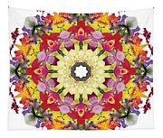 Abundantly Colorful Orchid Mandala Tapestry